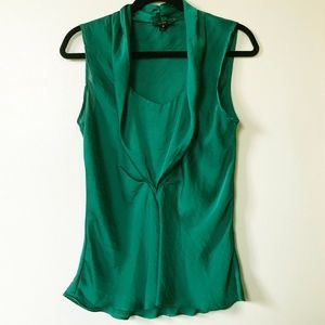 WILLI SMITH Green Front Gathered Flowing Seam Top